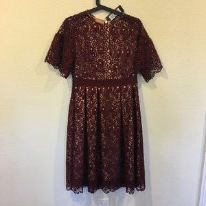 M&S Dresses - NWT M&S burgundy lace short sleeve dress